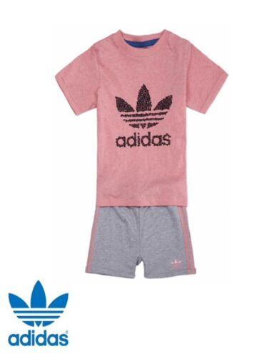 ADIDAS ORIGINALS BABY GIRL Enfants T Shirt Short Set Cadeau Idéal BNWT S14383