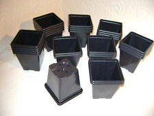 200 X 7cm SQUARE BLACK PLASTIC PLANT POTS EX VALUE