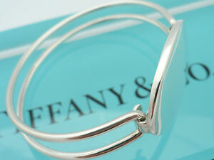 4136617d0 Tiffany & Co. Sterling Silver Oval ID Tag Double Wire Cuff Bangle ...