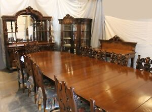 Image Is Loading Antique Victorian 16 Pc Matching Oak Dining Room