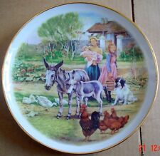 Unmarked Collectors Plate LIFE ON THE FARM - WATERING TIME Donkeys Chickens Dog