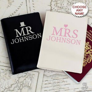 bb267e124d67 Details about PERSONALISED Mr & Mrs PASSPORT Holders. His & Hers Passport  Covers. Couple Gift