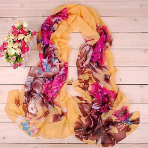 New Fashion Lady Long Wrap Women/'s Shawl Scarf Girl/'s Chiffon peony Scarves