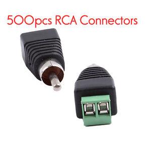 500pcs Phono Speaker Wire To RCA Male Jack Plug Adapter CCTV ...