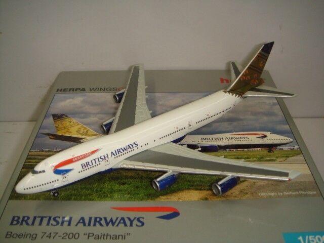 Herpa Wings 500 British Airways BA B747-200  World Tail - Paithani  1 500 NG