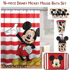 16pc MICKEY MOUSE BATH SET Shower Curtain Hooks Mat Soap Pump Toothbrush