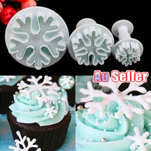 3pcs CGS Cake Decorating Snowflake Mould Cutter Plunger Mold Sugarcraft Fondant
