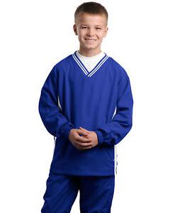 Sport-Tek-Boys-Tipped-Polyester-V-Neck-Long-Sleeve-Casual-Wind-Shirt-YST62