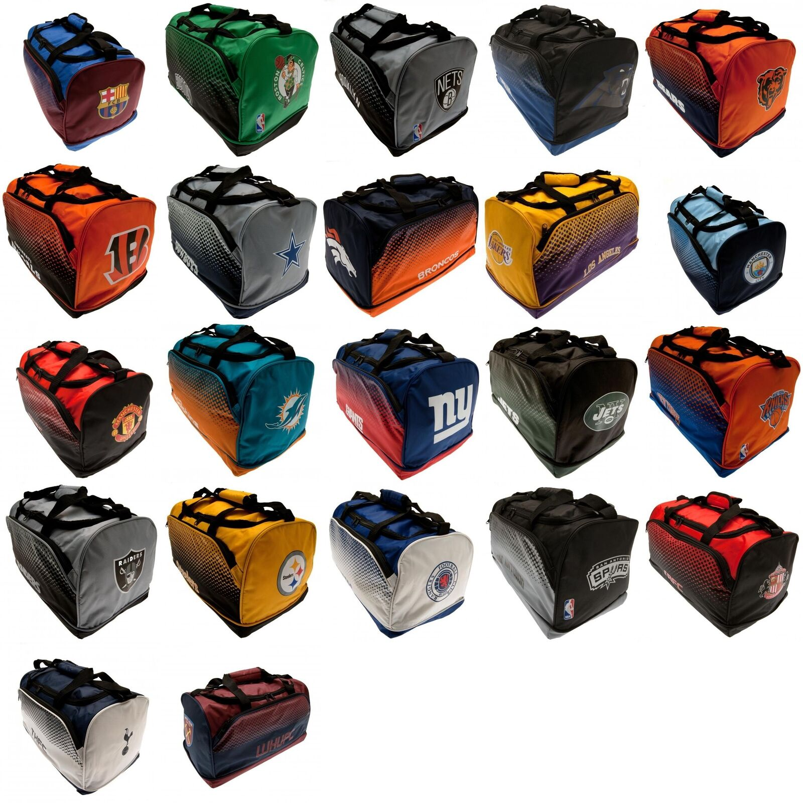 Various Fade Holdall Football Team American NBA NFL Official Club Crest Bag Gym