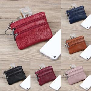 Details about JQ_ HK- Women's Leather Keys Coin Organizer Zipper Bag Pouch  Wallet Purse Gift