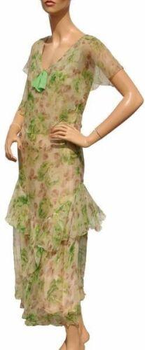 1930s Dress Floral Print Silk Chiffon