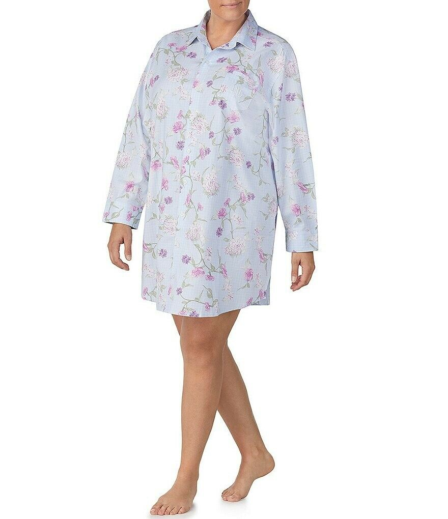 Ralph Lauren Pale bluee Floral Print Brushed Twill HIS Short Nightshirt sz 2X NWT