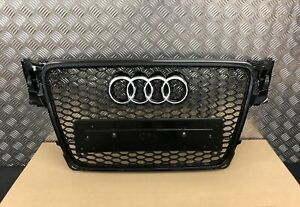AUDI-A4-B8-RS-RS4-STYLE-GLOSS-BLACK-HONEYCOMB-RADIATOR-BUMPER-GRILLE-2008-2012