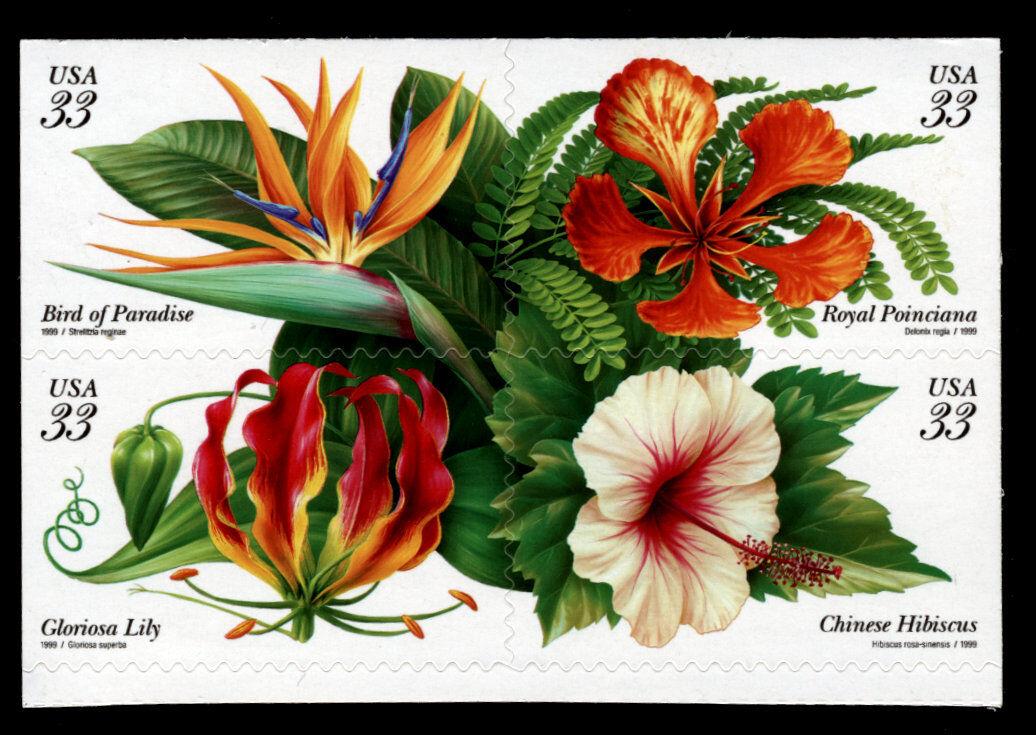 1999 33c Tropical Flowers, Block of 4 Scott 3310-13 Min