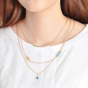 Hot-Hamsa-Fatima-Hand-Evil-Eye-Pendant-3-Layers-Necklace-Women-Chain-Jewelry