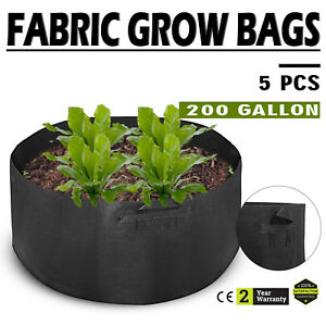 5PCS-x-200-Gallon-Fabric-Grow-Pots-Grow-Bags-Smart-Dirt-Plant-w-4-Nylon-Handles