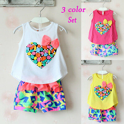 Baby Kids Girls Love Heart Sleeveless T-shirt Floral Shorts Pants Outfits Sets