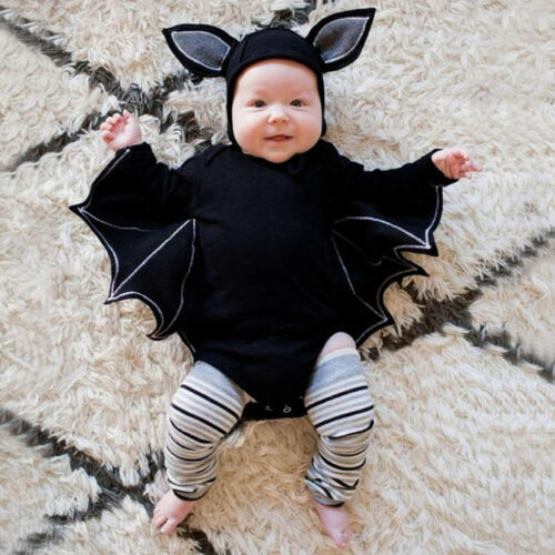 Newborn Baby Boys Girls Bat Halloween Cosplay Costume Romper Hat Outfits Clothes