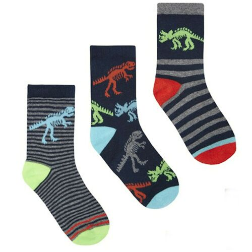 Boys 3 Pack Cotton Rich Pattern Ankle Socks Dinosaur 2 Years 9 Years