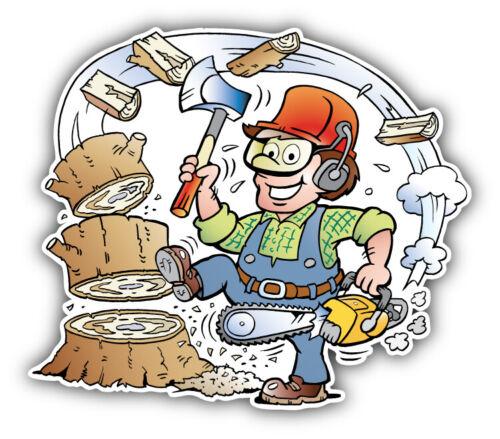 Cartoon Happy Working Lumberjack Car Bumper Sticker Decal /'/'SIZES/'/'