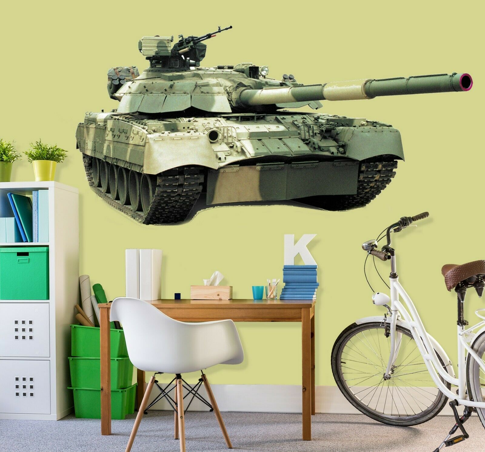 3D Tank Bunt C306 Auto Wallpaper Wandbild Poster Transport Wandaufkleber Wend