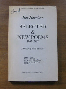 SELECTED-amp-NEW-POEMS-by-Jim-Harrison-1st-1st-ARC-PB-1982-uncorrected-proof