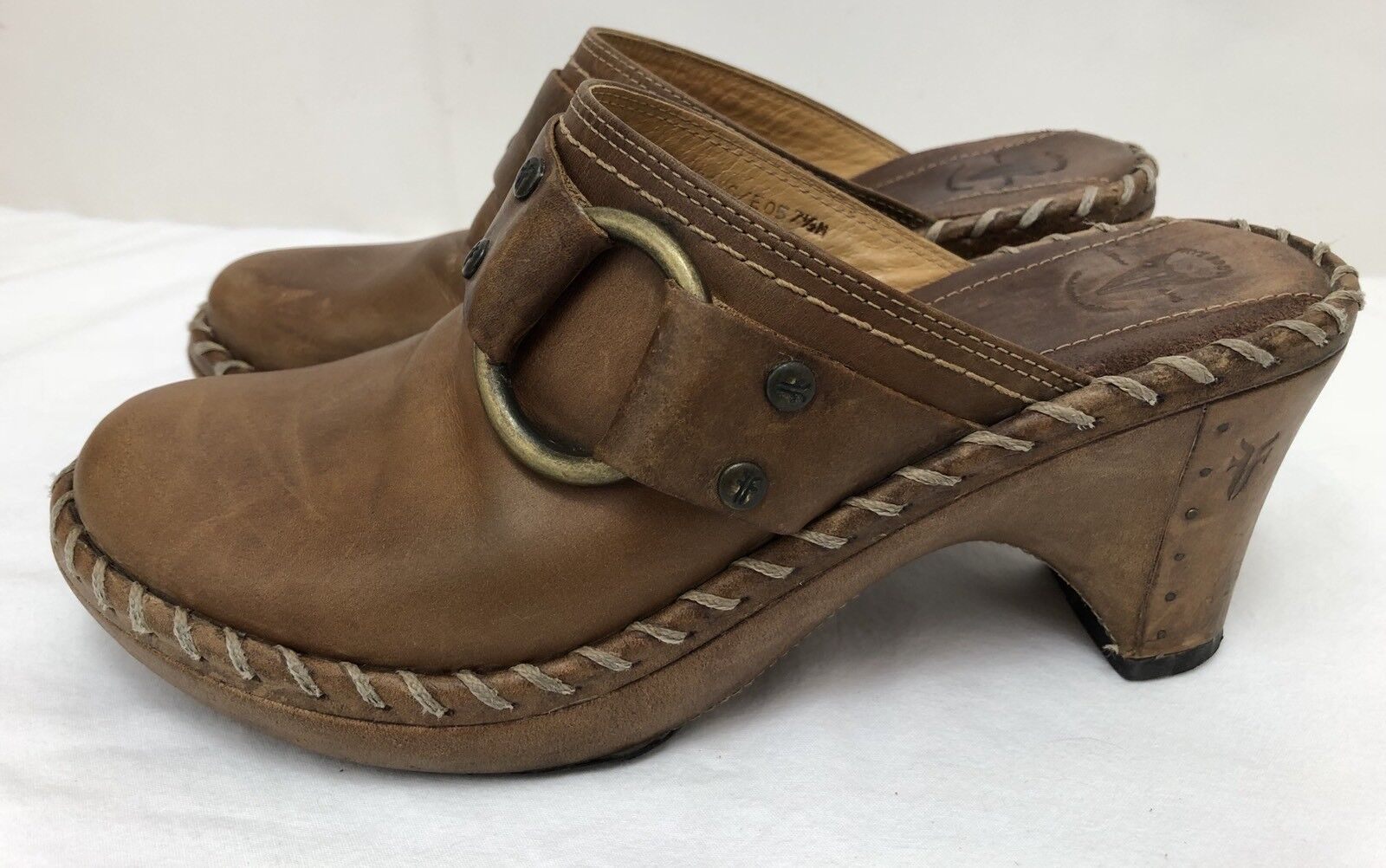 Womens FRYE 'Charlotte' 70770 Brown Leather Harness Mules Clogs shoes SIZE 7.5 M