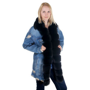 Das Bild wird geladen Oversize-Damen-Jeansjacke-mit-Besatz-aus-echtem-Pelz- 7c19e4a546