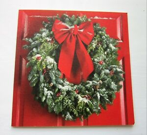 10 High Quality Christmas Cards Christmas Door Wreath Red Ribbon