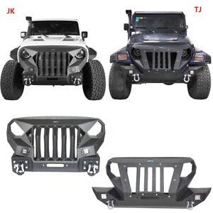 Hooke Road Jeep TJ Heavy Duty Front Bumper w//Full Grille /& Winch Plate for 1997-2006 Jeep TJ Wrangler