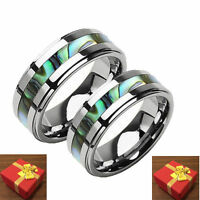 Tungsten Abalone Inlay 2-Ring Set Wedding Bands His & Hers Engraving Available