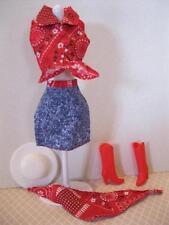 VTG Barbie Cowgirl Cowboy Fashion CLothes Boots Red Denim Skirt Scarf Tie Shirt