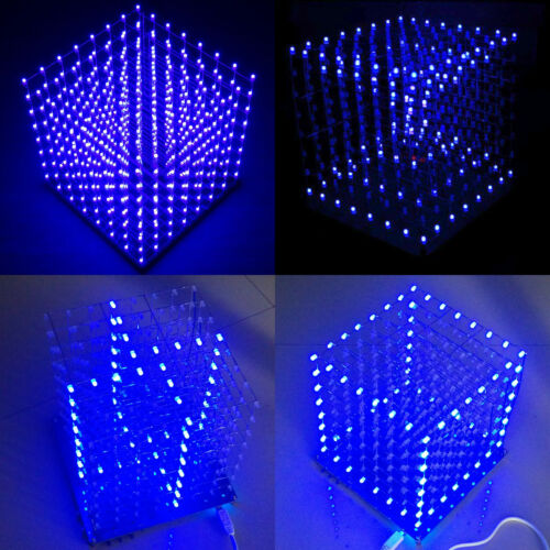 3D LED würfel 8x8x8 Cube LED Elektronisch Würfel Lampe DIY Kits Blau  ζ ❤