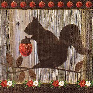 Basismaterialien 843 4 Motivservietten Servietten Napkins Tovaglioli Herbst Eichhörnchen Servietten