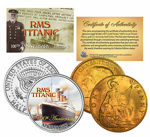 1900s-Authentic-TITANIC-Great-Britain-100th-Anniversary-2-Coin-24K-UK-US-Set