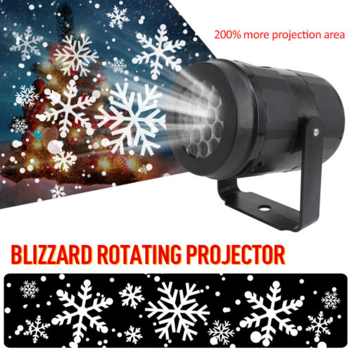 LED Snowflake Projector Christmas Moving Laser Projection Outdoor Indoor Light U