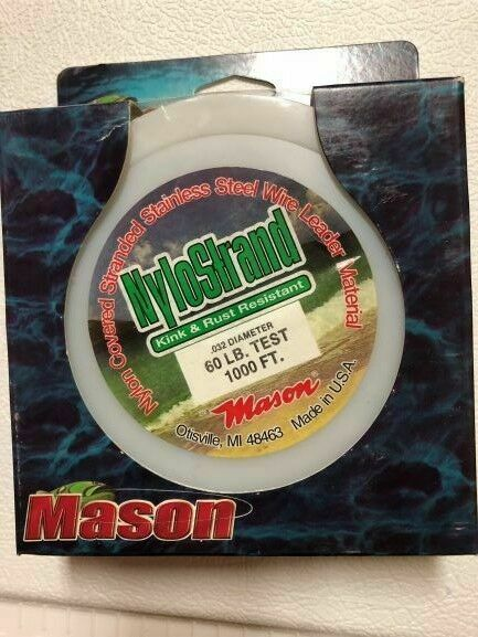 "210lb Test Mason Bright /""NYLOSTRAND/"" Leader Wire Nylon Coated 300 ft Spool 10lb"