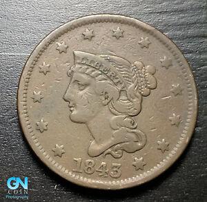 1843 Braided Hair Large Cent --  MAKE US AN OFFER!  #K3580