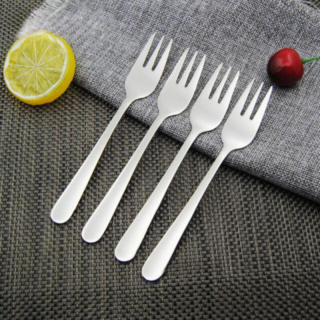4x Stainless Steel Cocktail Dessert Fork Tasting Appetizer Cake Fruit Forks new