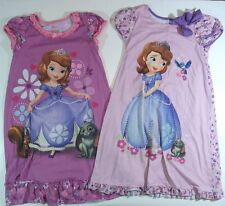 DISNEY STORE 2 NIGHTGOWNS PAJAMAS purple Sofia the First girls 7 8