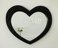 Rose Heart Black Shabby Chic Shaped Wall Mirror 43 X 36 V Large