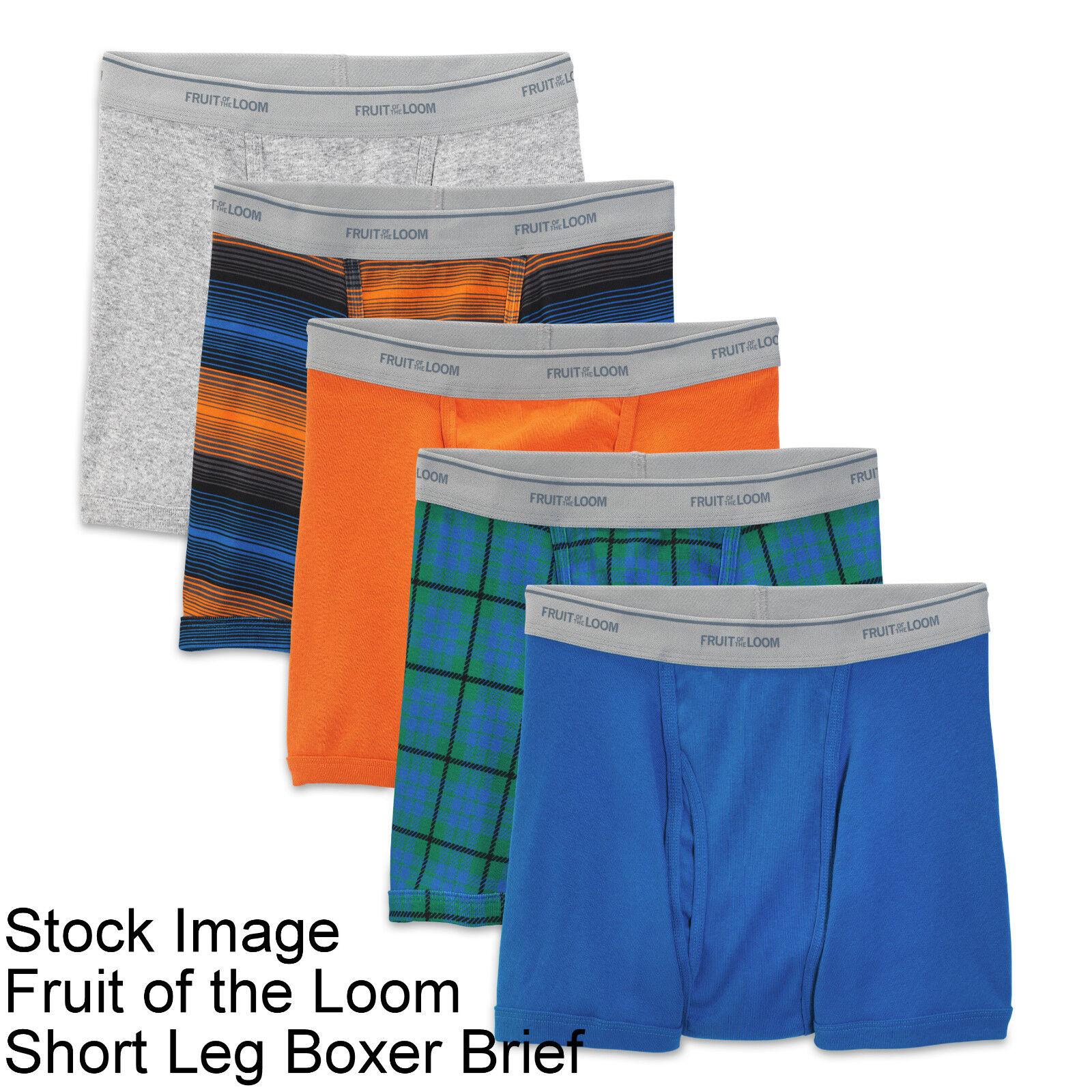 10 Prints Solids XL 40-42 Inch Short Leg Boxer Brief Fruit Of The Loom 102-107CM