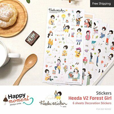 Heeda V2 Forest Girl Stickers For Diary Organizer Decoration 6 sheets