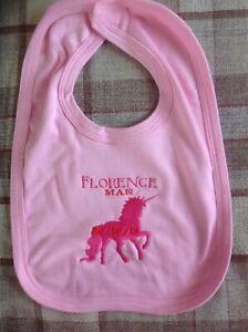 Personnalisé Brodé Rose ou Bleu Baby Shower Licorne ou naissance Bloc Bib