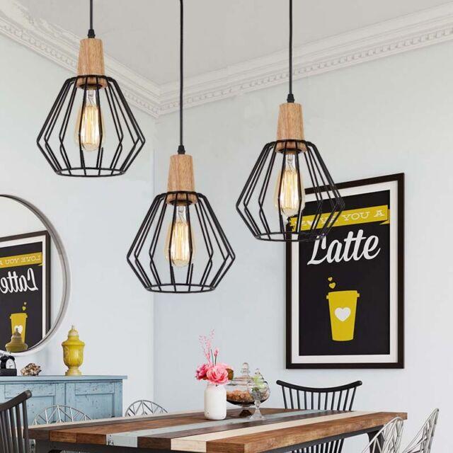 Wood Pendant Light Modern Ceiling Lights Black Lamp