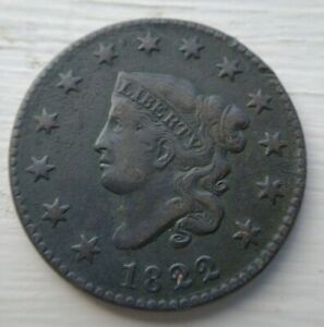1822 Large Cent Coronet Head Very Fine + VF or XF Details Minor Env Dmg EAC