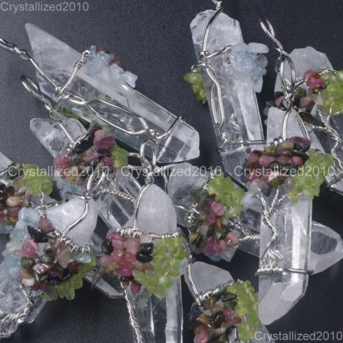 Natural Gemstone Clear Quartz Crystal Rock Stick Life Tree Pendant Beads Silver