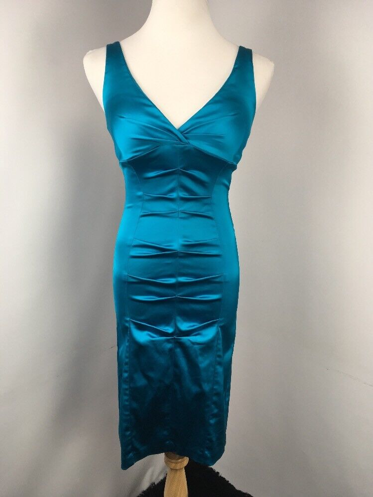 Cache Bright Blau Bodycon Ruched Wiggle Pencil Dress Party Evening Sz 6 USA MADE