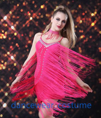 Ballroom Latin Tango Rumba Salsa Dance Dress Competition Diamond Fringe Skirt 1P