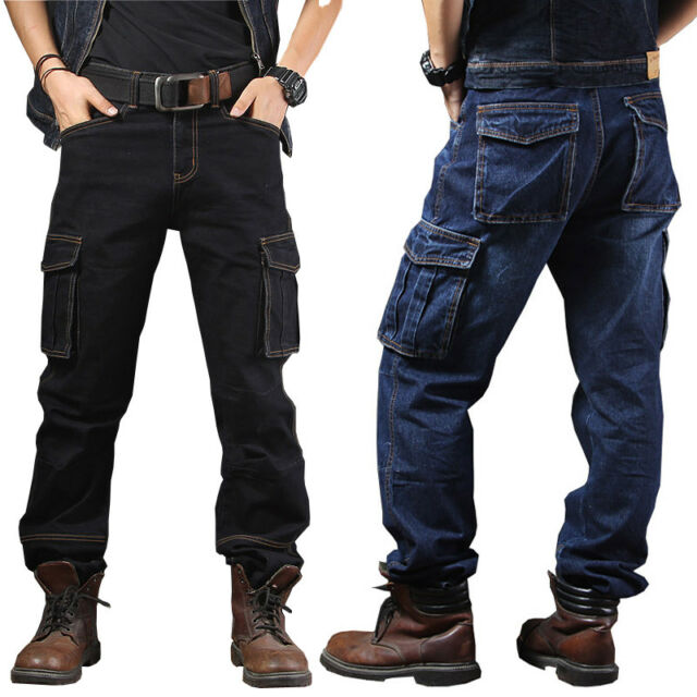 Mens Jeans Denim Pant Casual Cargo Combat Work Pants Tactical Trousers Pockets